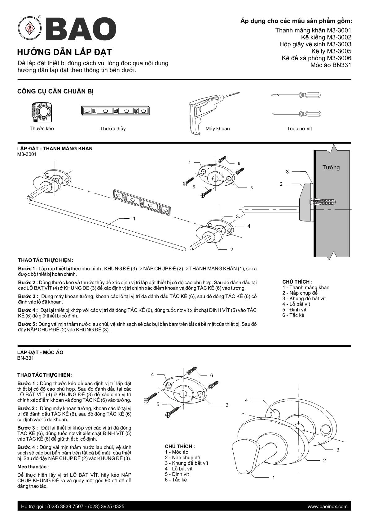 hướng dẫn lắp đặt phụ kiện phòng tắm Bao 6m3c