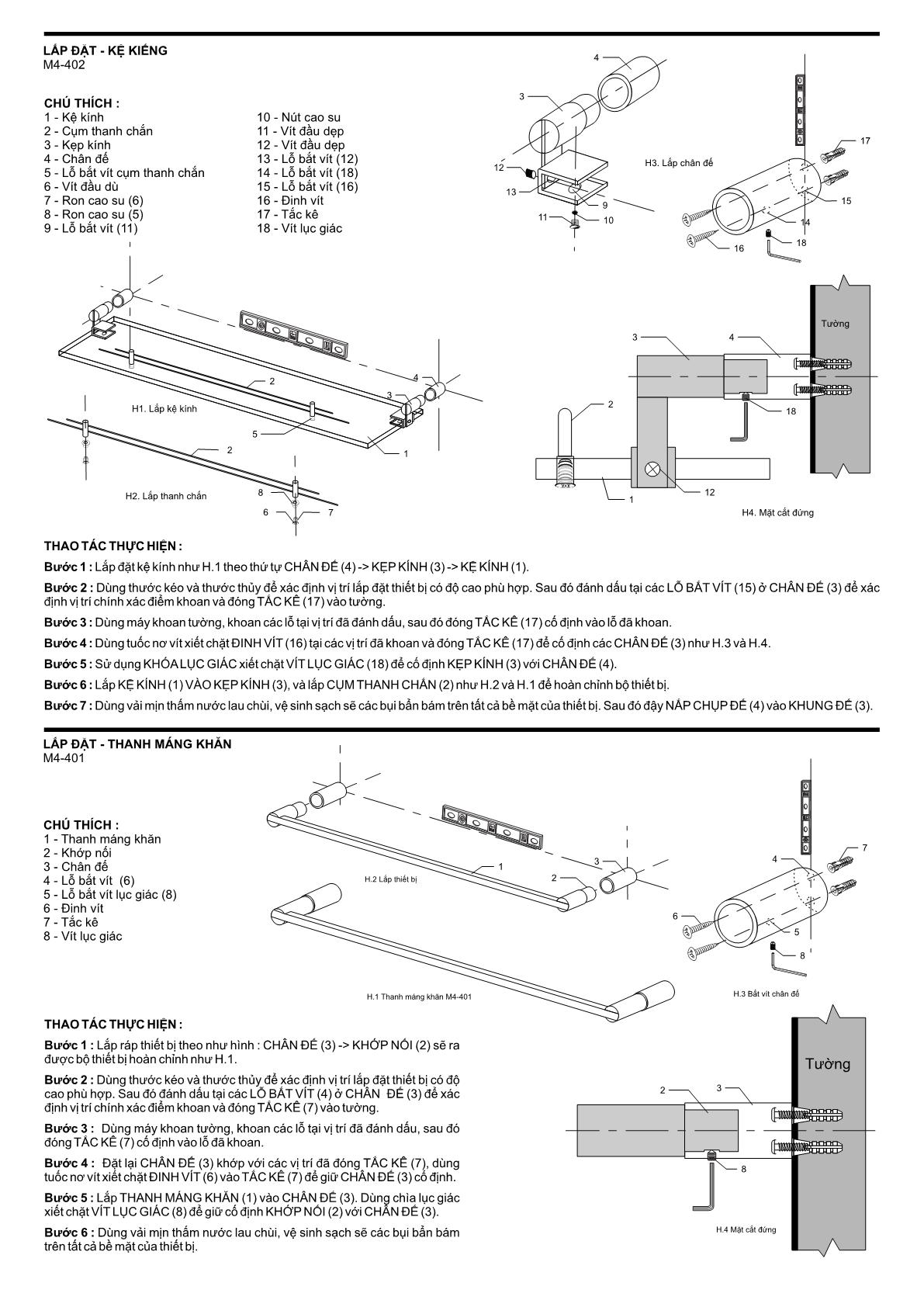 Hướng dẫn lắp đặt bộ phụ kiện phòng tắm 6M4A