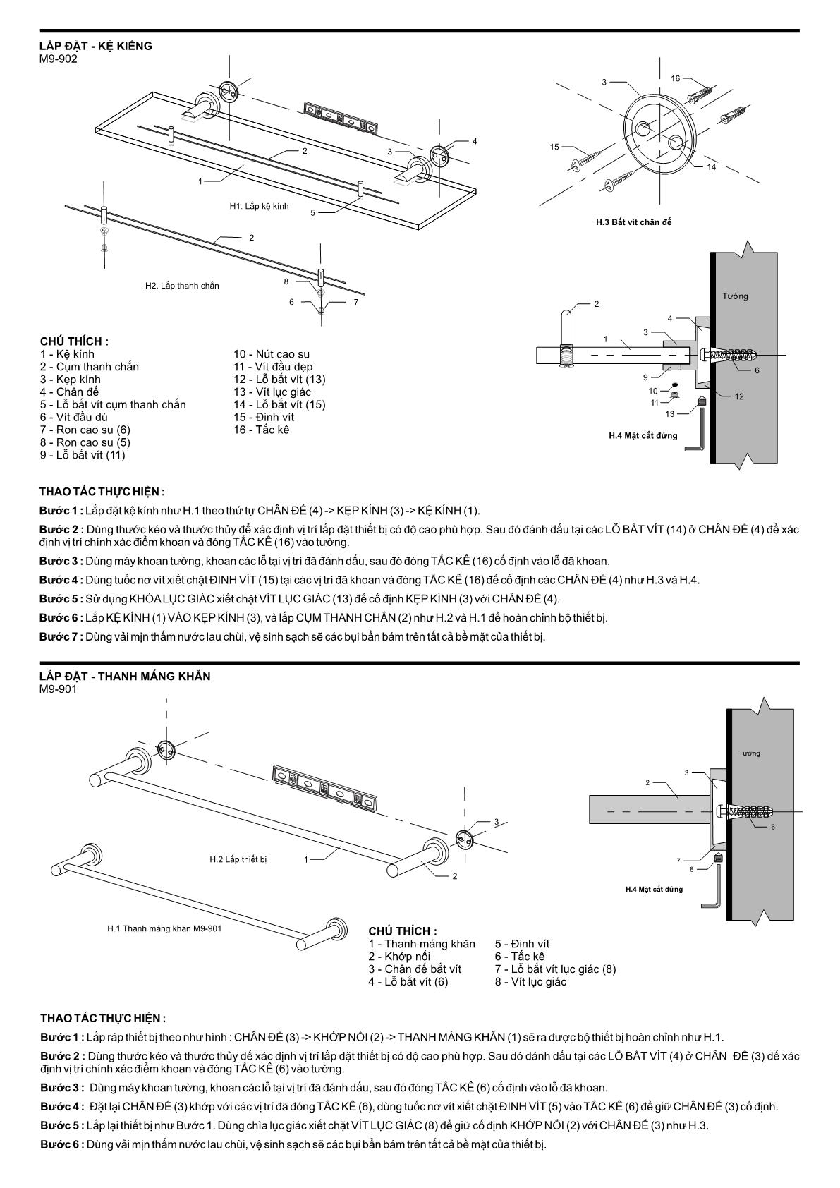 Hướng dẫn lắp đặt phụ kiện phòng tắm 6m9